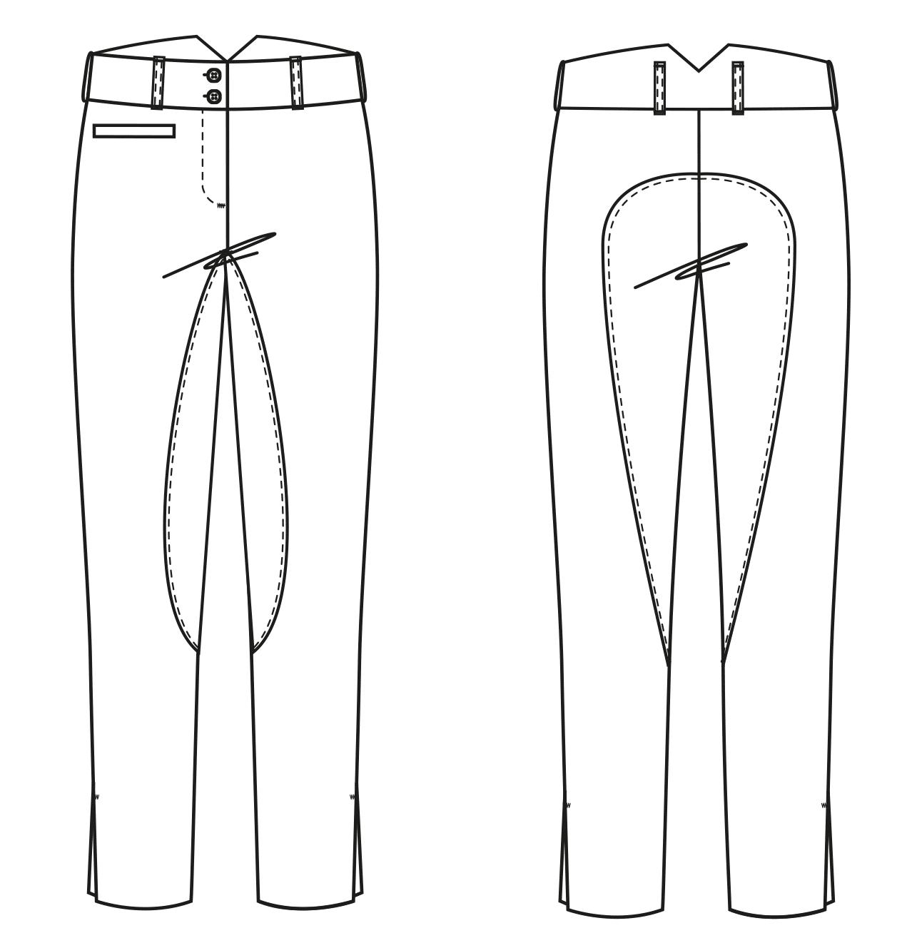 Diese Abbildung zeigt die Vorder- und Rückansicht einer technischen Zeichnung von einer Reithose. Sie dient als Vorlage für ein Schnittmuster auf einem Schnittmusterbogen von Müller und Sohn.