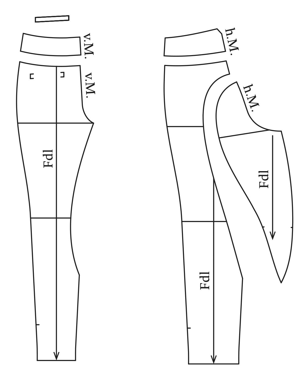 Die Abbildung zeigt die fertigen Schnittteile einer Reithose für den Schnittmusterbogen.