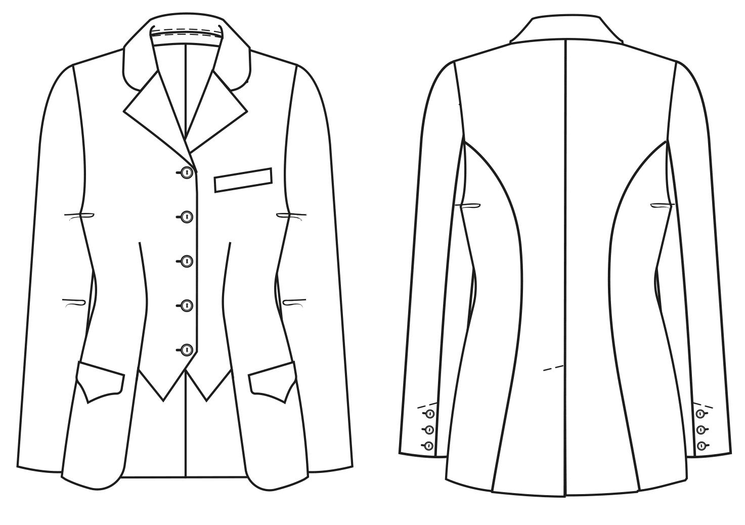 Diese Abbildung zeigt die Vorder- und Rückansicht einer technischen Zeichnung von einer Reitjacke. Sie dient als Vorlage für ein Schnittmuster auf einem Schnittmusterbogen von Müller und Sohn.