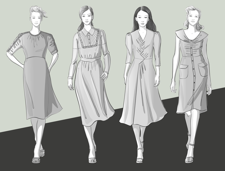 Zu sehen sind die Modellzeichnungen von Retro-Kleidern. Sie dienen als Vorlage für die Schnitt-Technik.