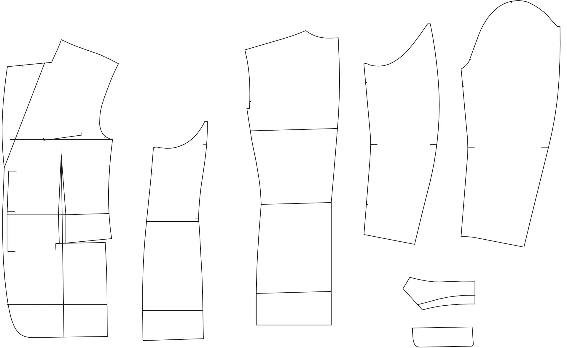 Abgebildet sind die fertigen Schnitttteile des Schnittmusterbogens für eines Sakkos.