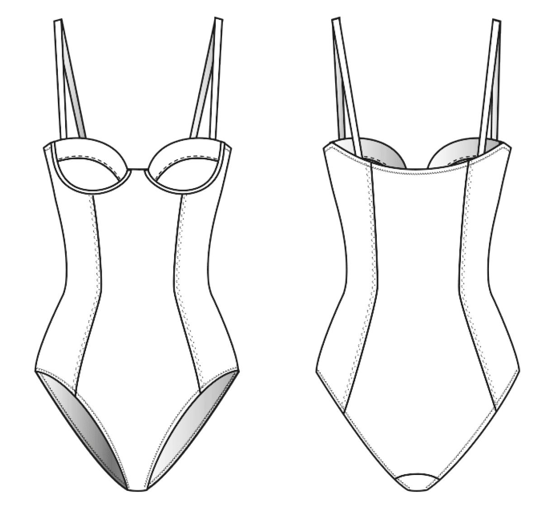 Vorder- und Rückansicht einer technischen Zeichnung von einem Badeanzug. Sie dient als Vorlage für ein Schnittmuster auf einem Schnittmusterbogen von Müller und Sohn.