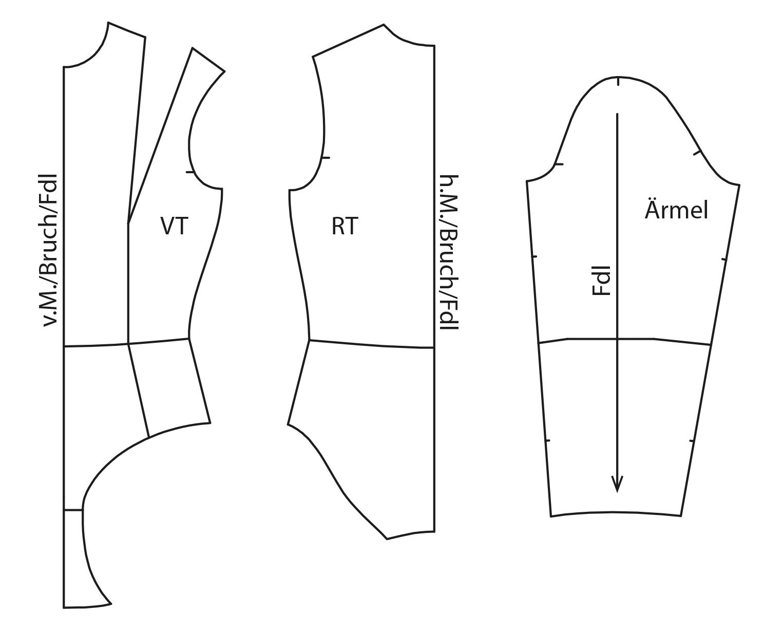 Die Abbildung zeigt die fertigen Schnittteile eines Badeanzuges für den Schnittmusterbogen.