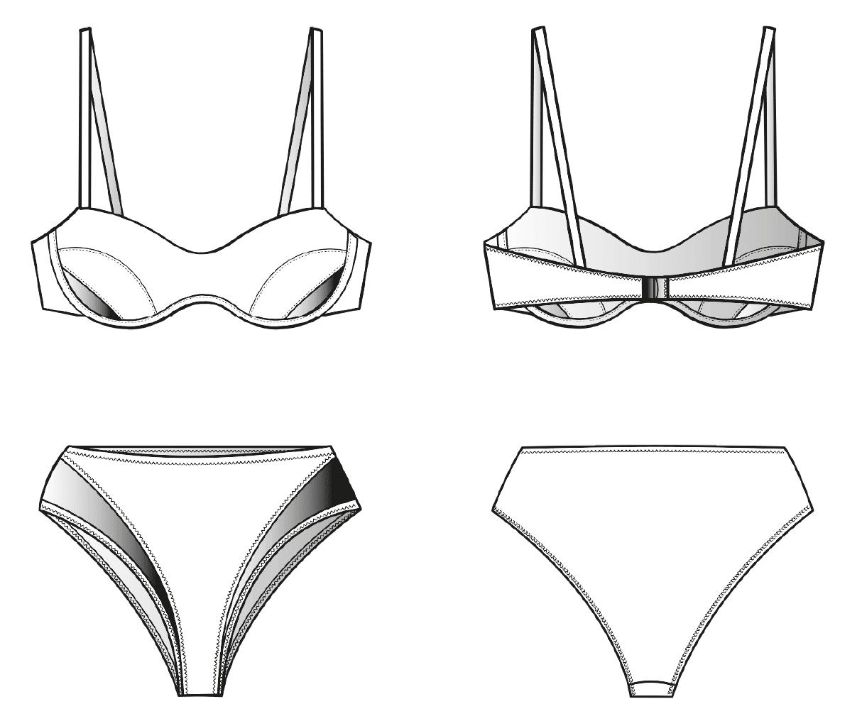 Vorder- und Rückansicht einer technischen Zeichnung von einem Bikini. Sie dient als Vorlage für ein Schnittmuster auf einem Schnittmusterbogen von Müller und Sohn.