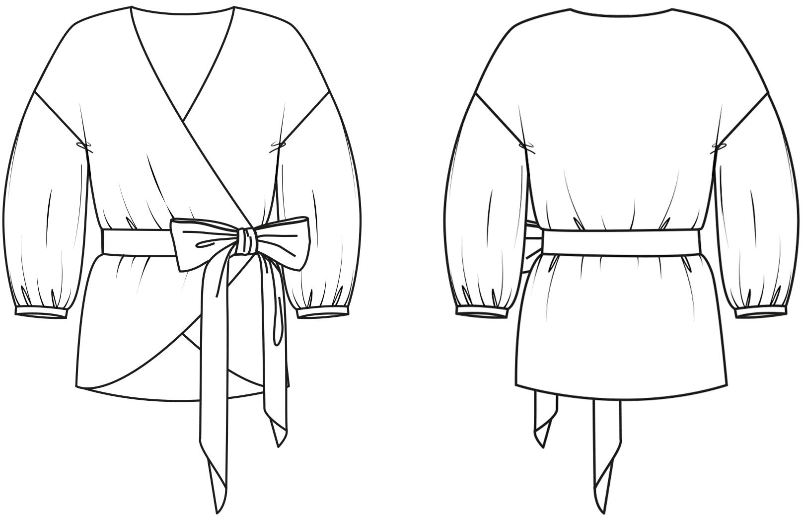 Abgebildet ist die technische Zeichnung einer Bluse. Sie dient als Vorlage für die schnitttechnisce Umsetzung.