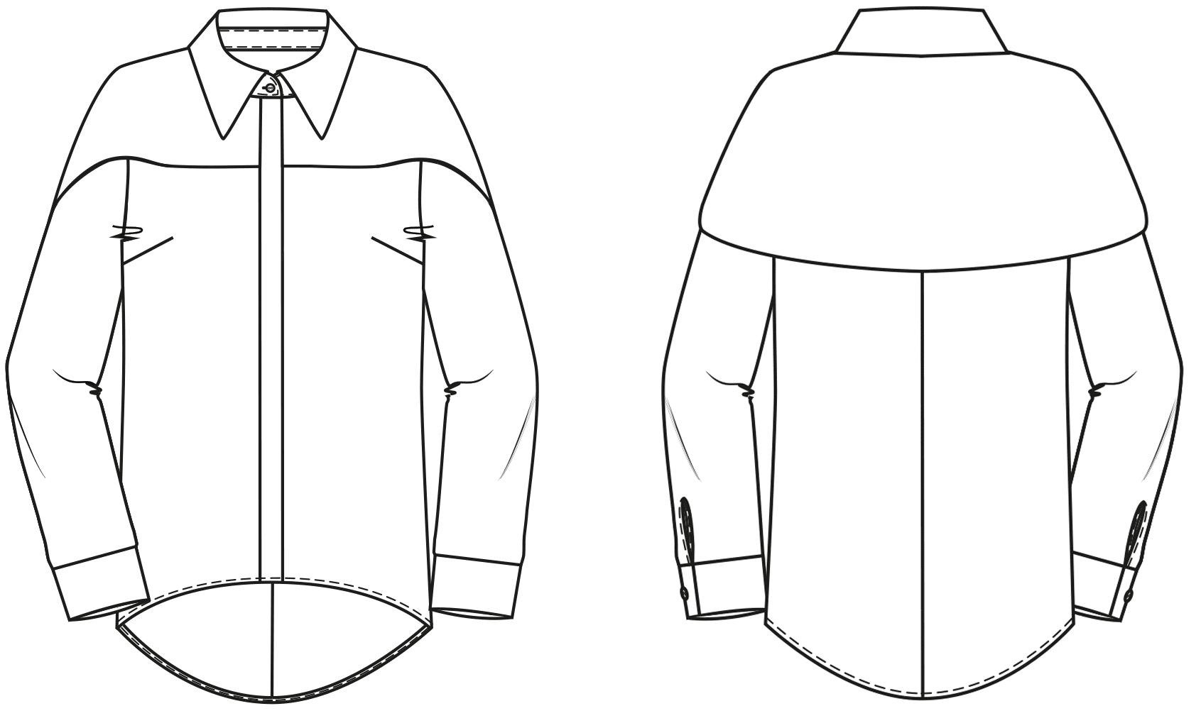 Abgebildet ist die technische Zeichnung einer Bluse. Sie dient als Vorlage für die schnitttechnisce Umsetzung