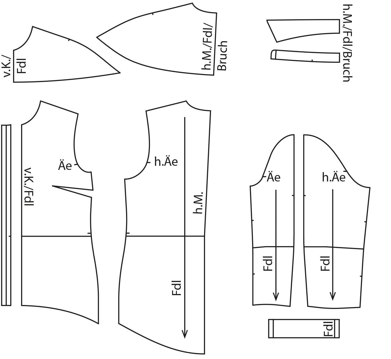 Zu sehen sind die fertigen Schnittteile der Bluse auf dem Schnittmusterbogen.