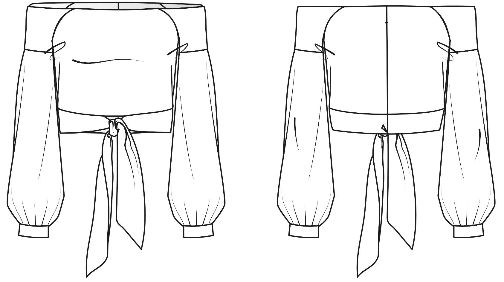 Diese Abbildung zeigt die Vorder- und Rückansicht einer technischen Zeichnung von einer Off-Shoulder Bluse. Sie dient als Vorlage für ein Schnittmuster auf einem Schnittmusterbogen von Müller und Sohn.