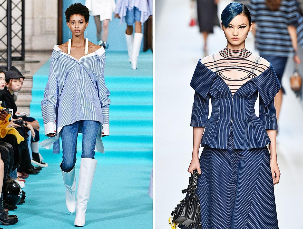 Das Foto zeigt Models auf dem Catwalk die Off-Shoulder Blusen tragen. Die Fotos dienen als Vorlage für den Schnitt auf dem Schnittmusterbogen