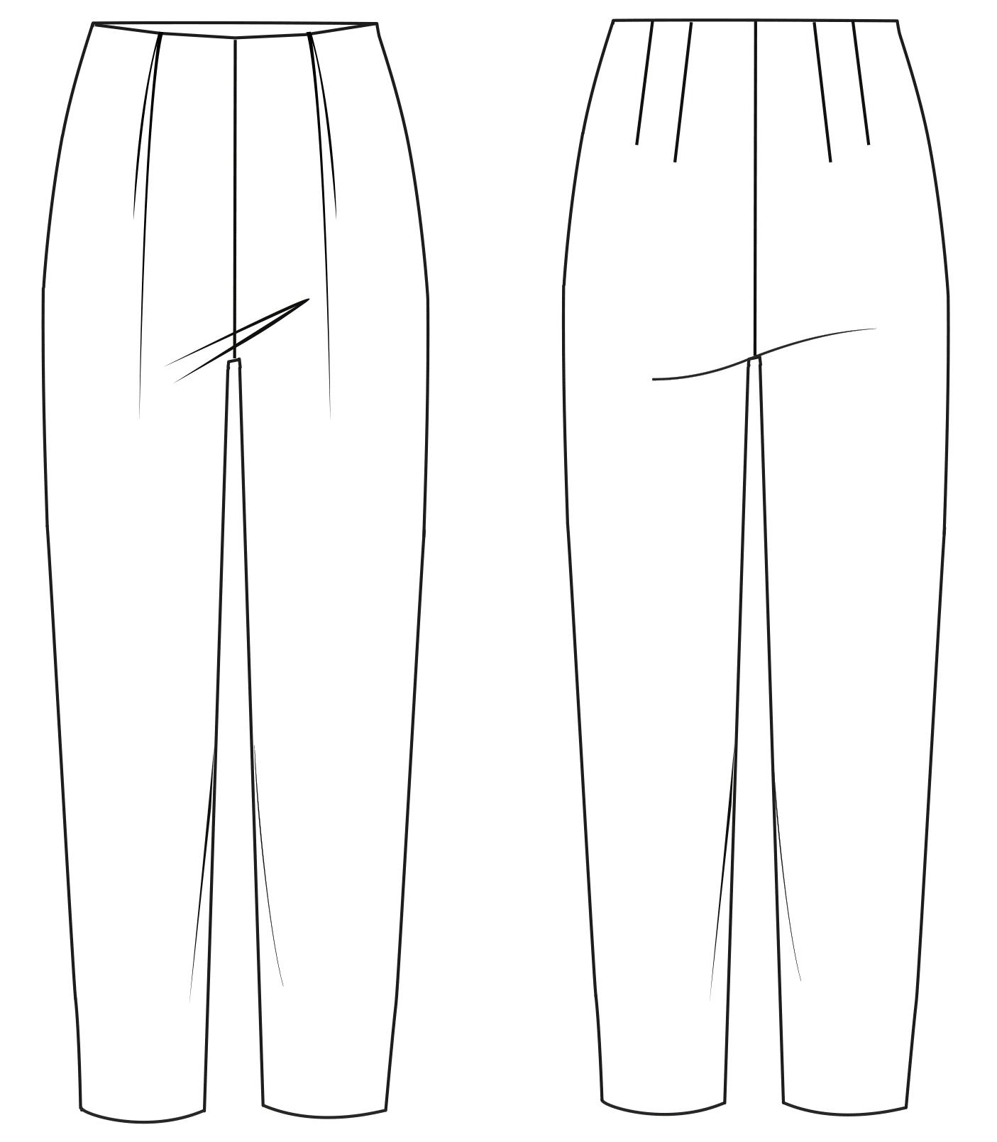 Diese Abbildung zeigt die Vorder- und Rückansicht einer technischen Zeichnung von einer Hose. Sie dient als Vorlage für ein Schnittmuster auf einem Schnittmusterbogen von Müller und Sohn.