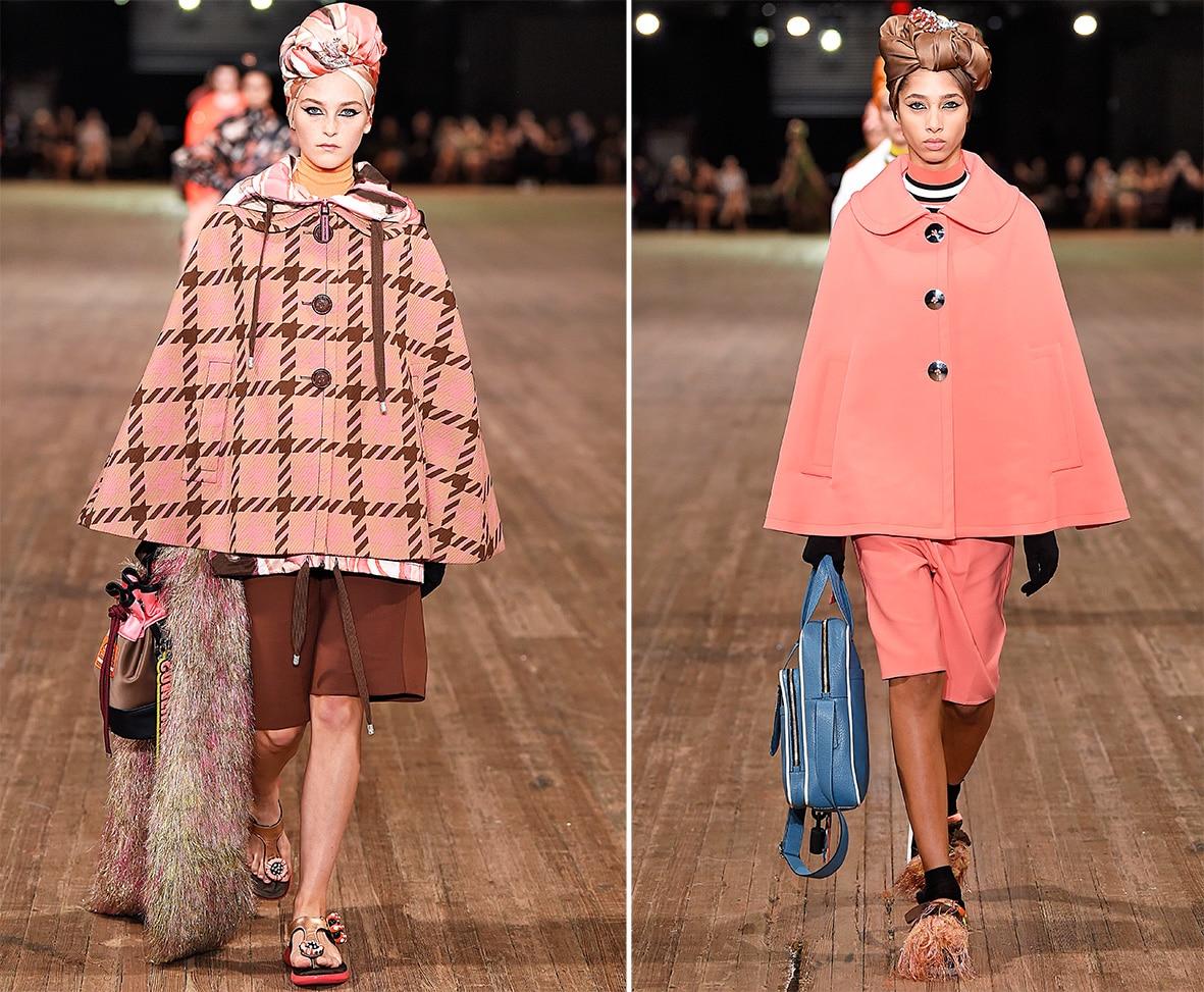 Das Foto zeigt Models auf dem Catwalk die Capes tragen. Die Fotos dienen als Vorlage für den Schnitt auf dem Schnittmusterbogen