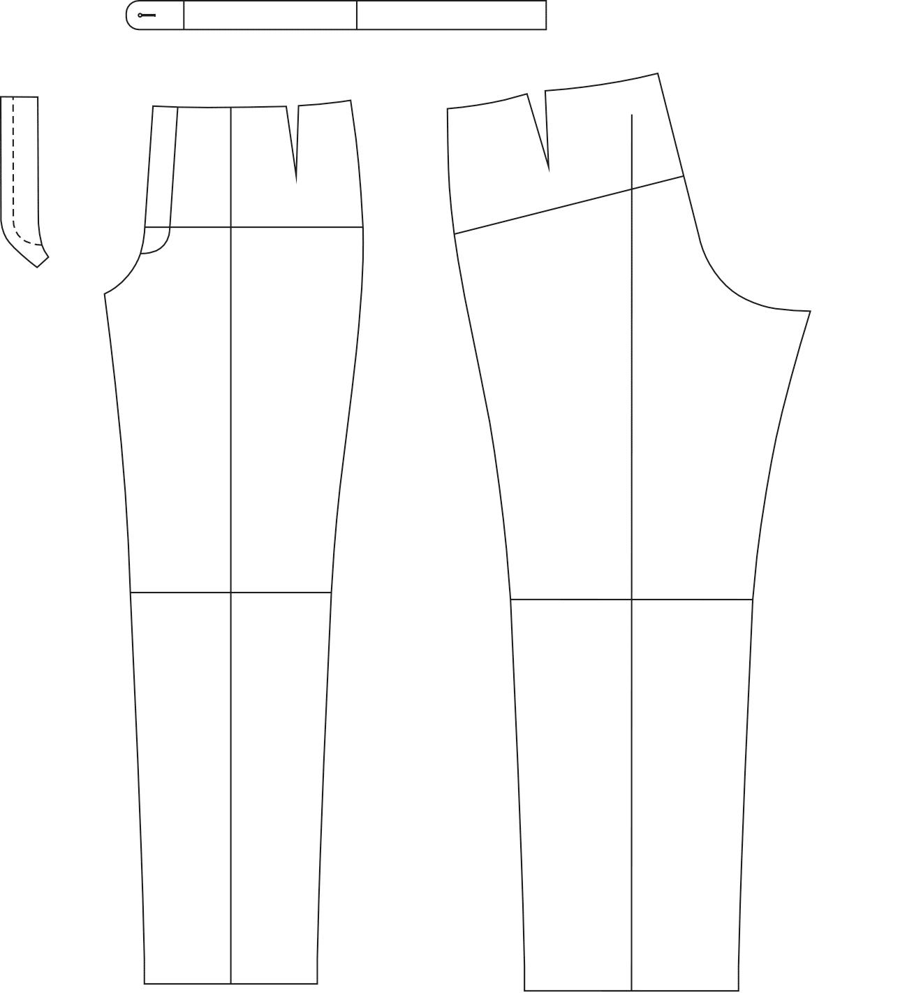 Abgebildet sind die fertigen Schnitttteile des Schnittmusterbogens für eine Hose.