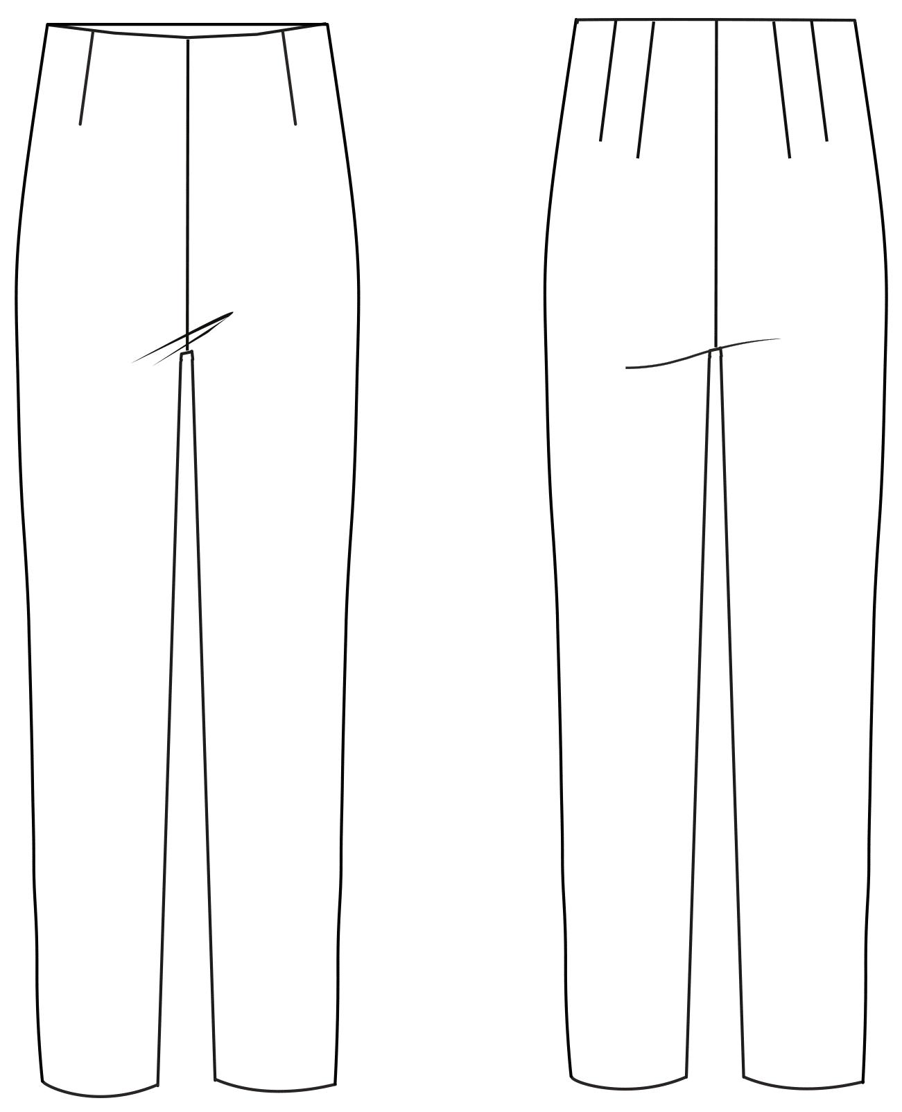Vorder- und Rückansicht einer technischen Zeichnung von einer Hose. Sie dient als Vorlage für ein Schnittmuster auf einem Schnittmusterbogen von Müller und Sohn.