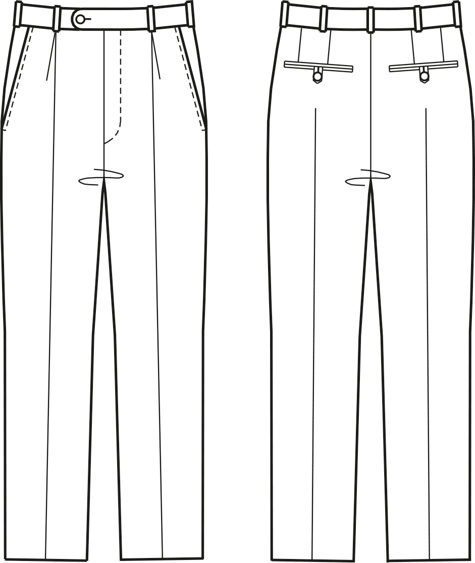 Abgebildet ist die Vorder- und Rückansicht einer technischen Zeichnung von einer Hose. Es dient als Vorlage für den Schnittmusterbogen