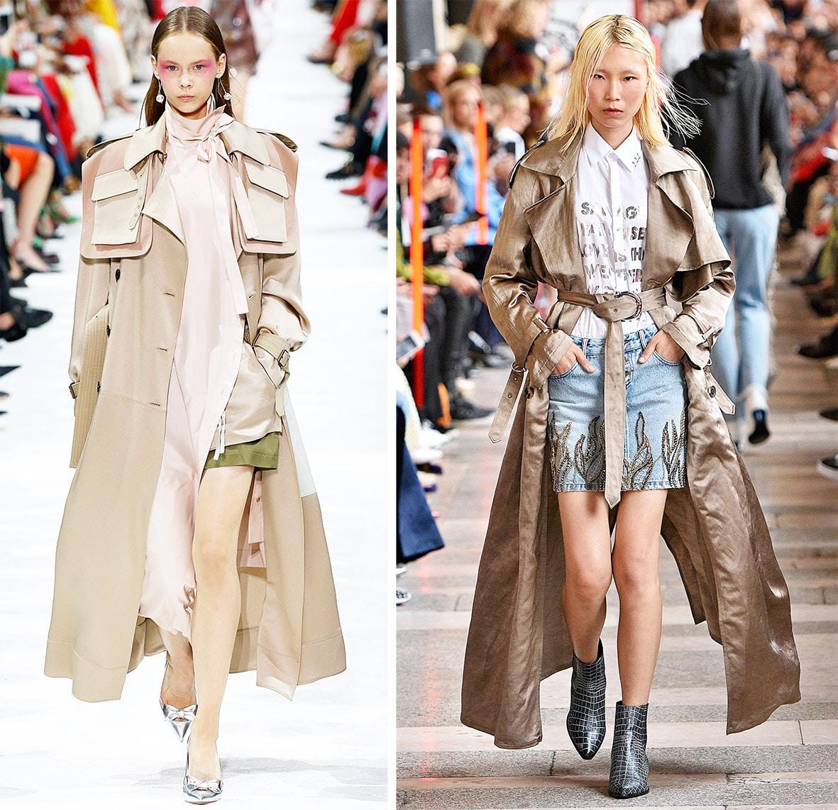 Das Foto zeigt Models auf dem Catwalk die Trenchcoats tragen. Die Fotos dienen als Vorlage für den Mantel auf dem Schnittmuster