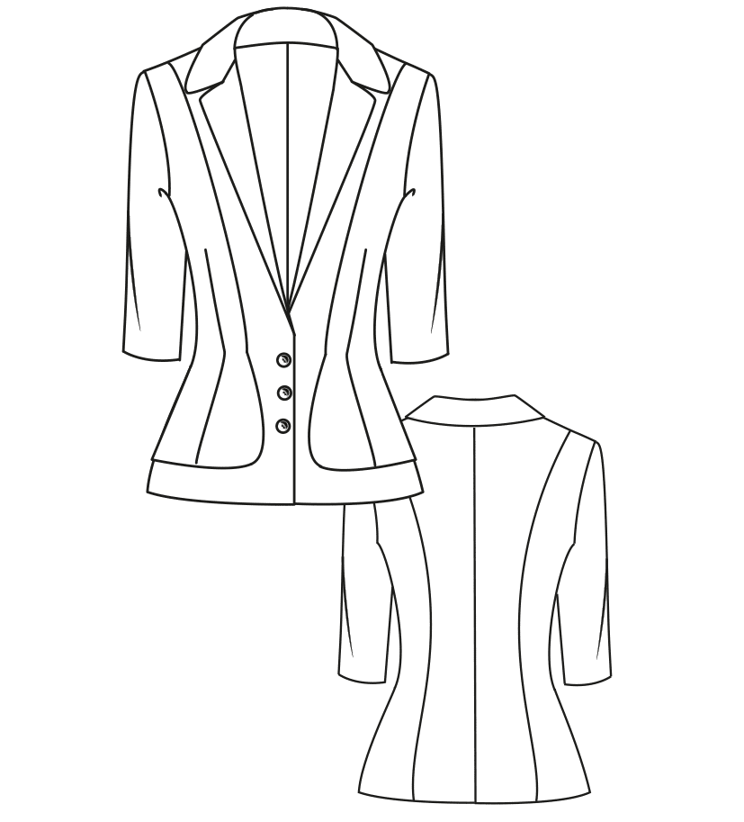 Diese Abbildung zeigt die Vorder- und Rückansicht einer technischen Zeichnung von einer Jacke. Sie dient als Vorlage für ein Schnittmuster auf einem Schnittmusterbogen von Müller und Sohn.