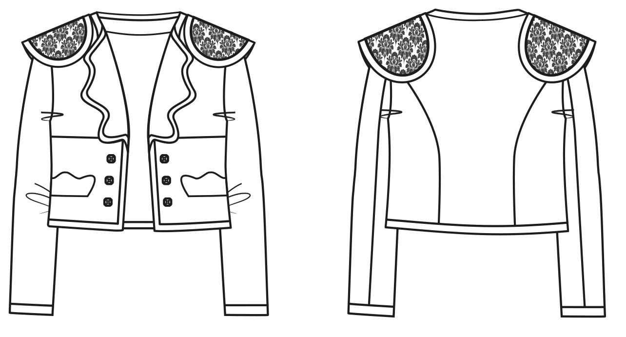 Zu sehen ist die technische Zeichnung einer Matador Jacke, diese Zeichnung dient als Vorlage für ein fertiges Schnittmuster.