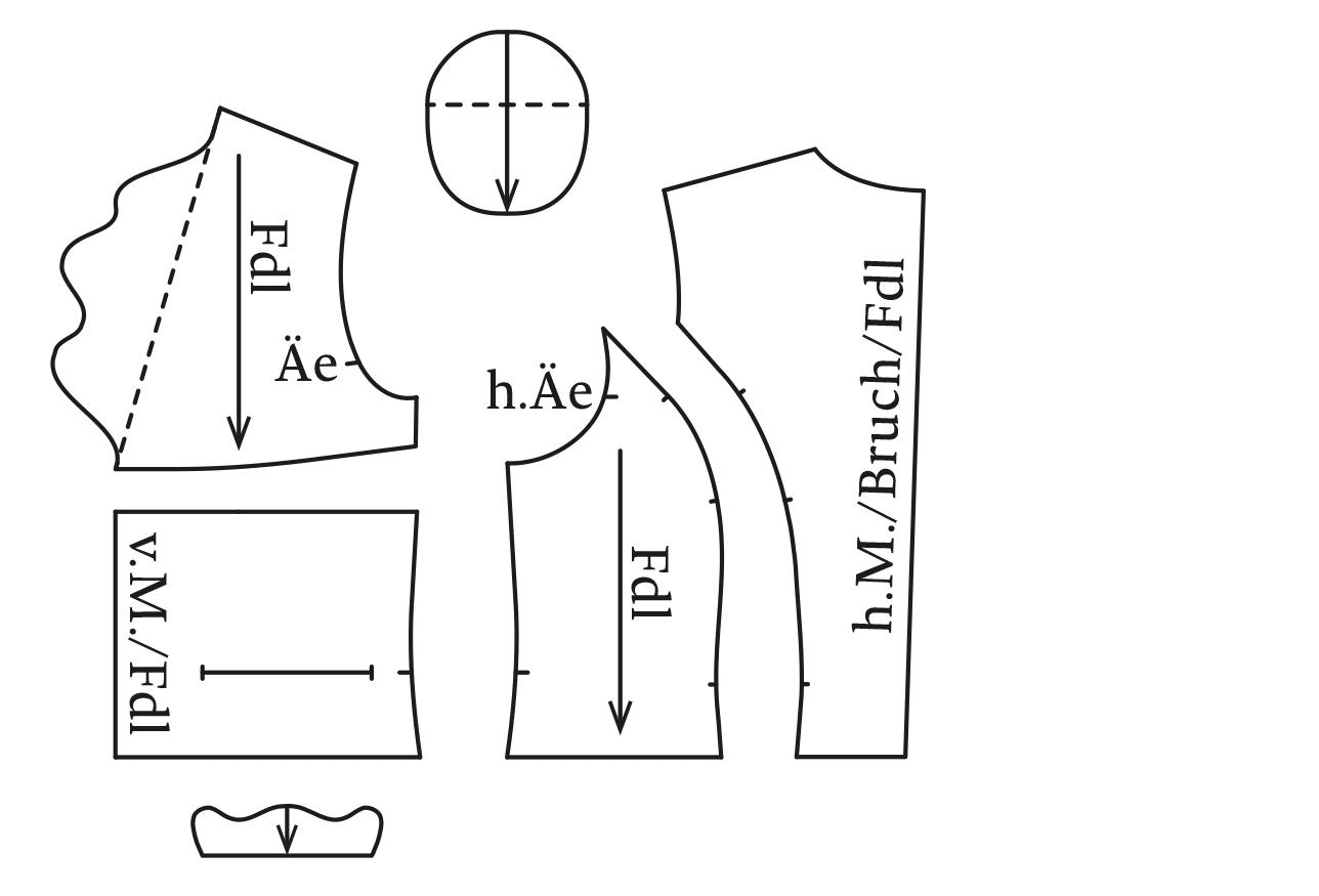 Zu sehen sind die einzelnen Schnittteile einer Matador Jacke.