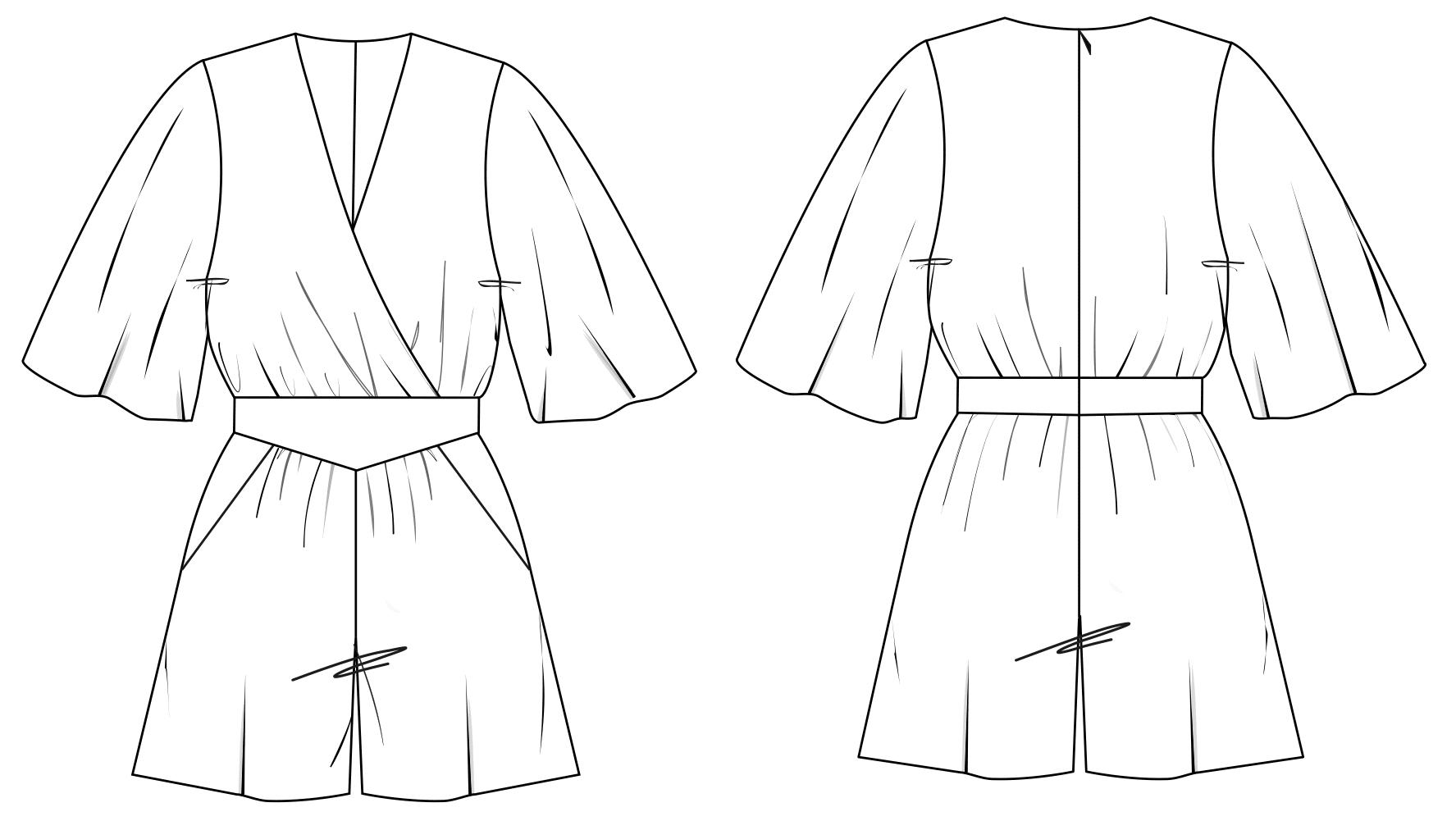 Zu sehen ist die technische Zeichnung der Vorder- und Rückansicht eines kurzen Overalls. Sie dient als Vorlage für die Schnitt-Technik.