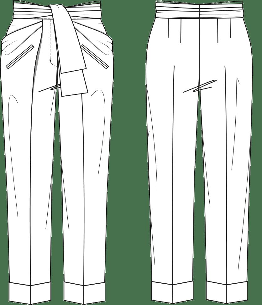 Gezeigt wird die Vorder- und Rückansicht einer technischen Zeichnung für eine Tied-Paperbag Hose. Sie dient als Vorlage für de Schntitkonstruktion.