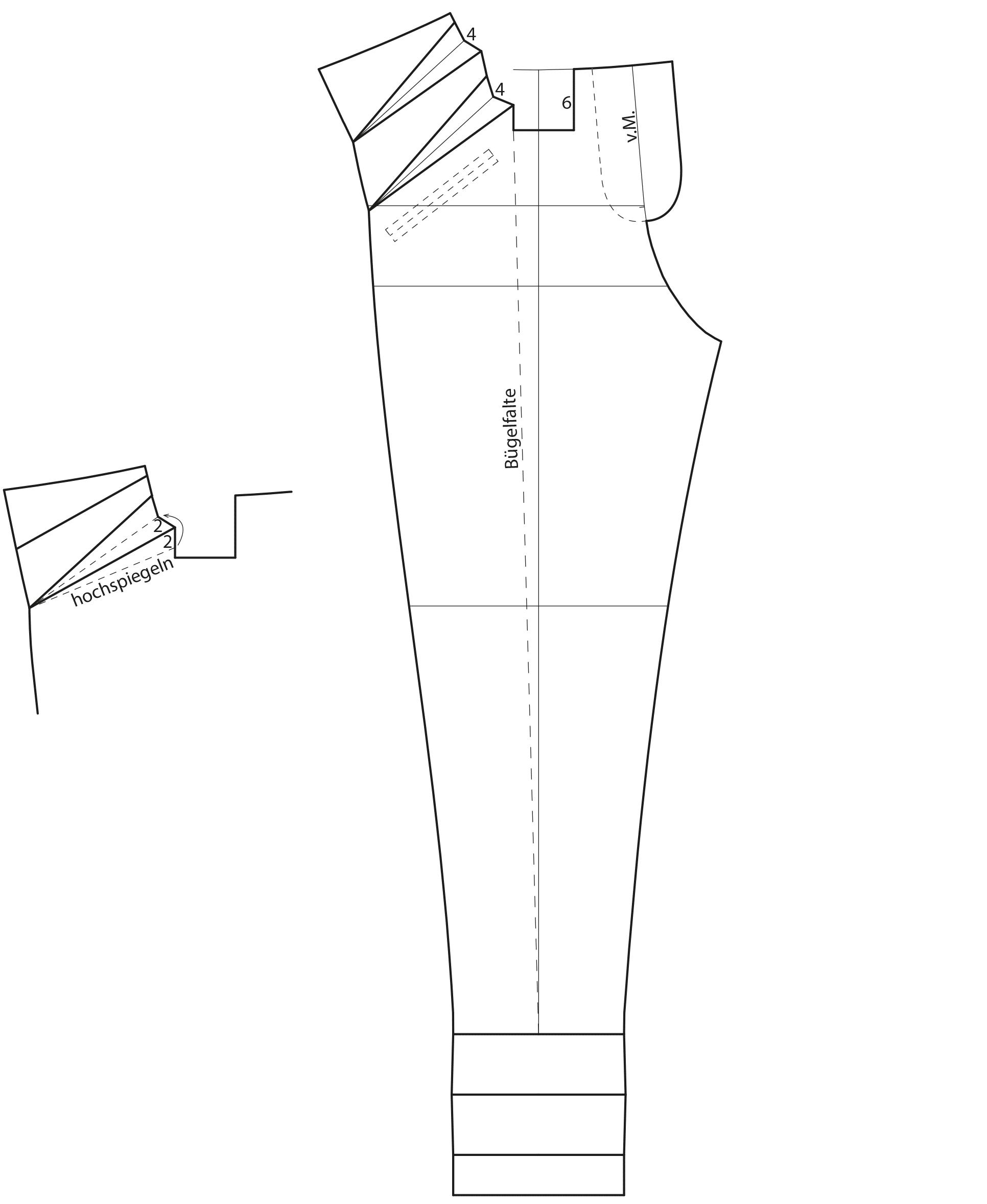 Zu sehen ist die Schnittkonstruktion einer Tied Paperbag Hose.