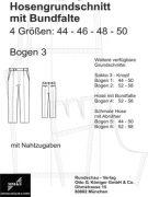 Produkt: Schnittmuster Hosengrundschnitt – Bogen Nr. 3