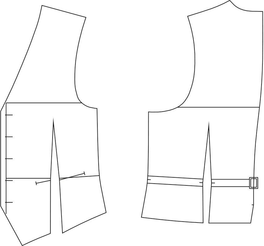 Abgebildet sind die fertigen Schnitttteile des Schnittmusterbogens für einer Weste.
