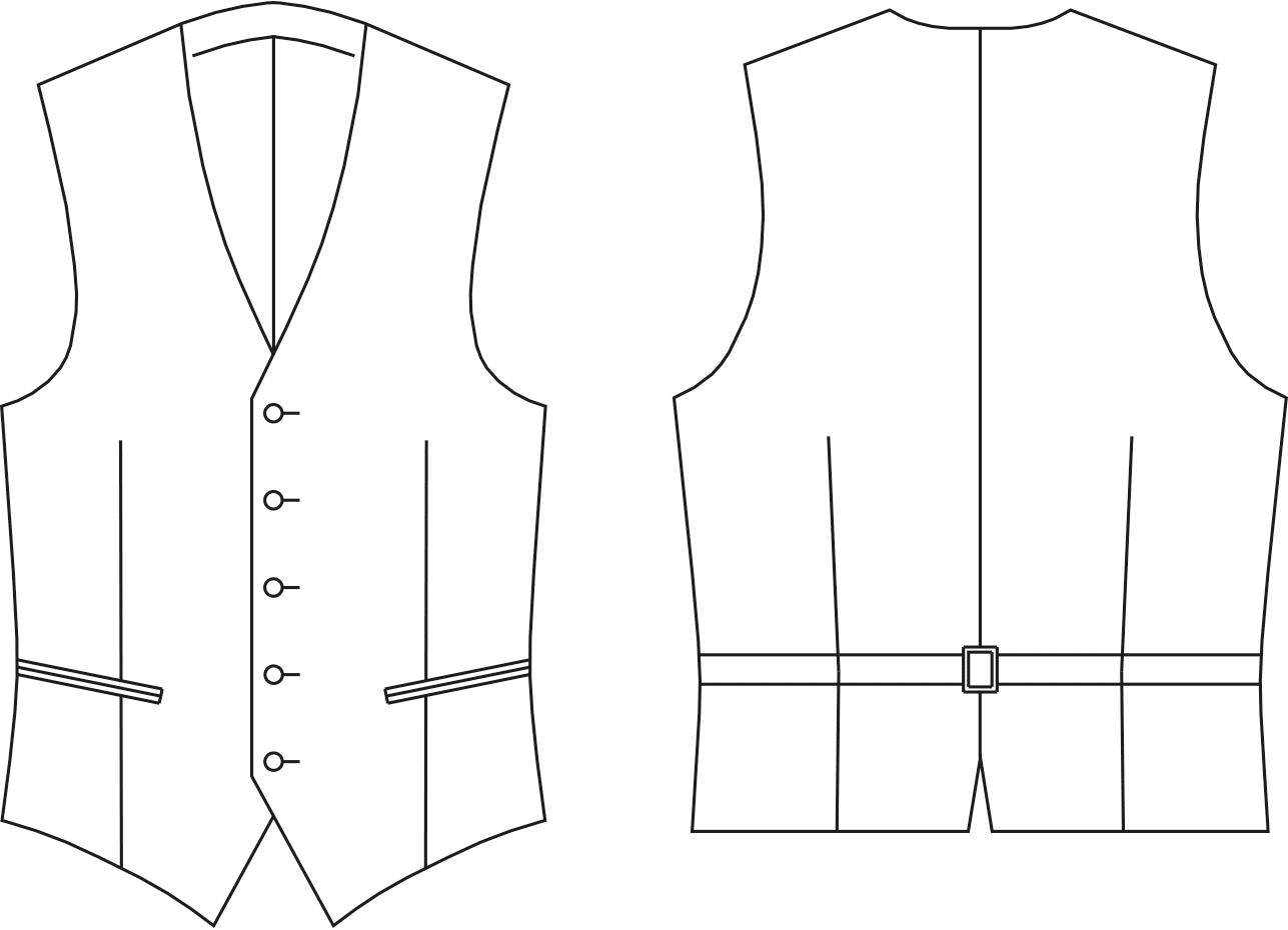 Abgebildet ist die Vorder- und Rückansicht einer technischen Zeichnung von einer Weste. Es dient als Vorlage für den Schnittmusterbogen