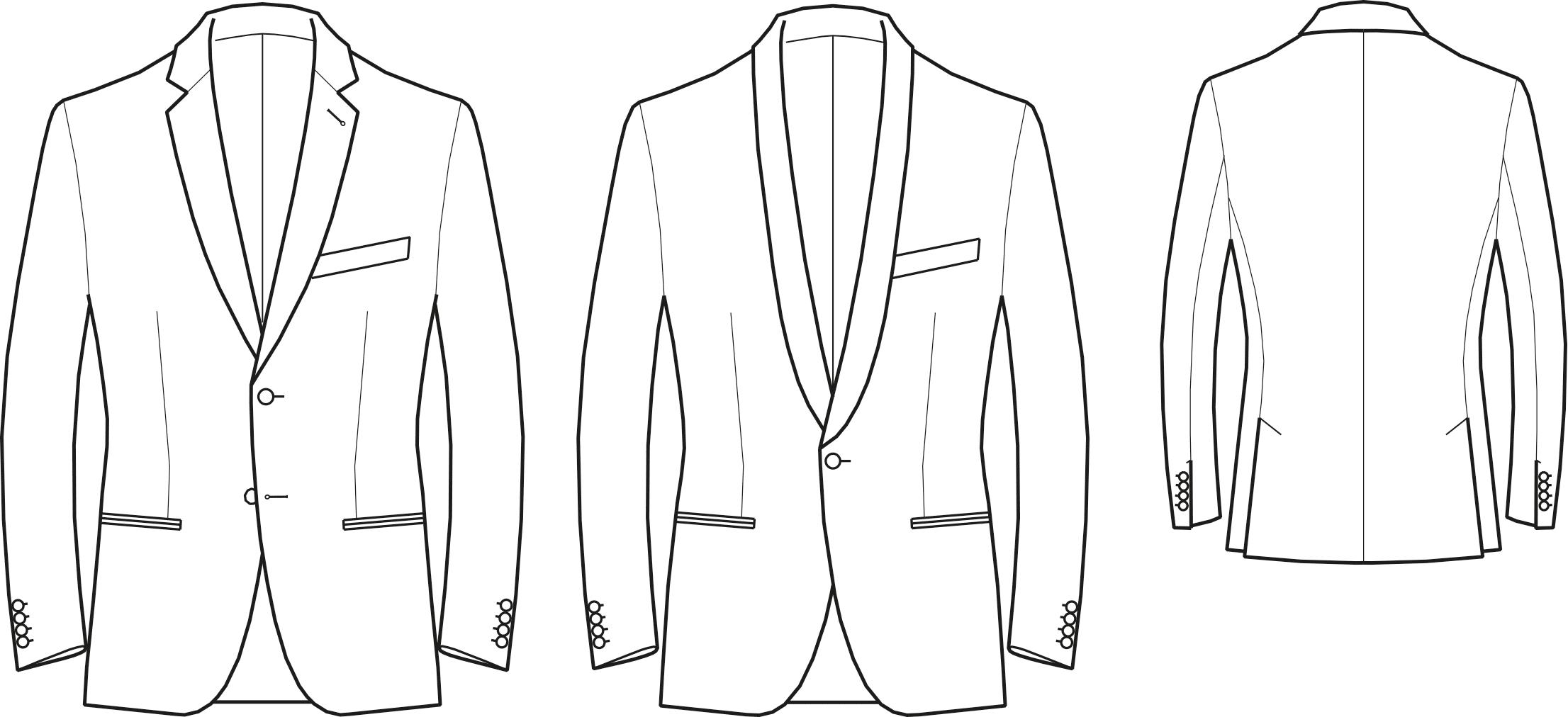Abgebildet ist die Vorder- und Rückansicht einer technischen Zeichnung von einem Sakko. Es dient als Vorlage für den Schnittmusterbogen