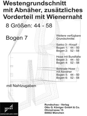 Produkt: Schnittmuster Westengrundschnitt – Bogen Nr. 7