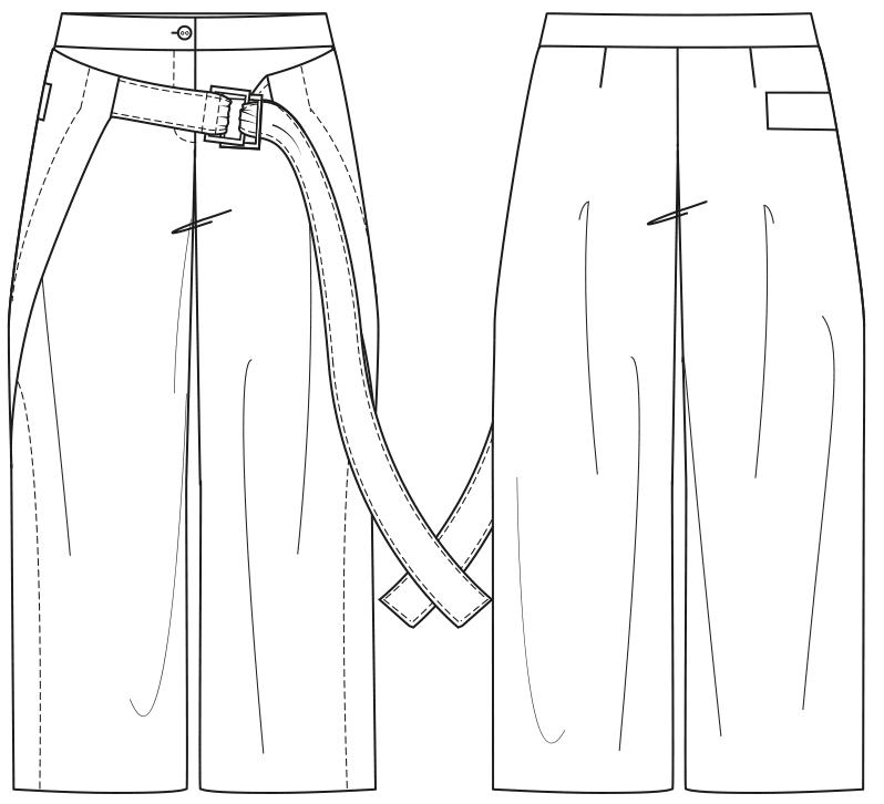 Gezeigt wird die Vorder- und Rückansicht einer technischen Zeichnung für eine Wide-Leg-Culotte. Sie dient als Vorlage für de Schntitkonstruktion.