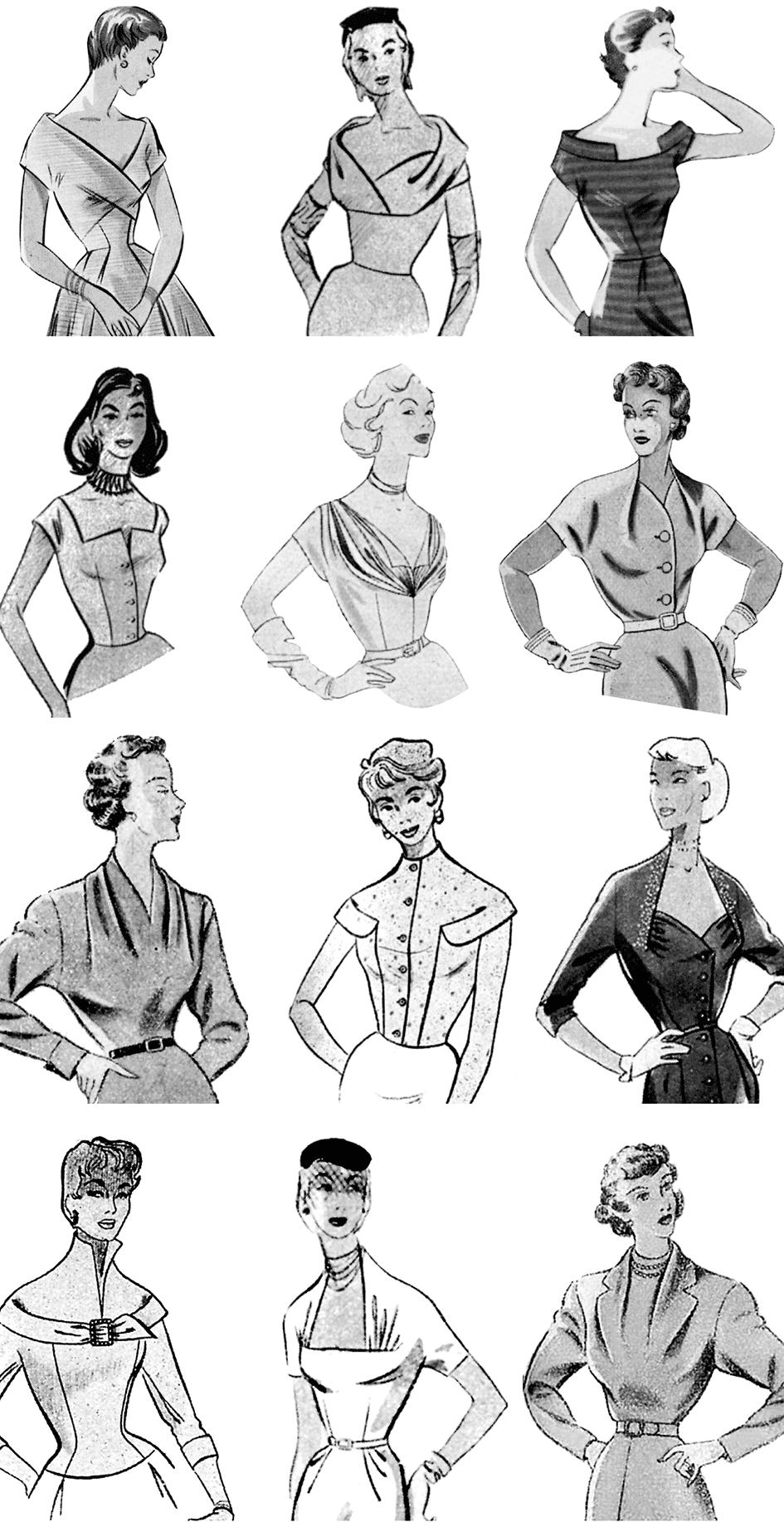 kleider der 50er jahre - ausschnittformen