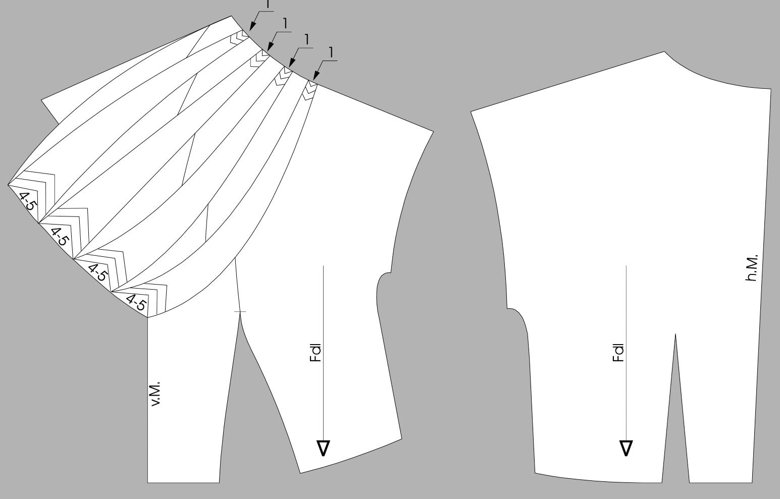 50er Jahre Ausschnittlösung - Sternförmige Fältchenlegung - Schnittkonstruktion - Schnittfertige Teile