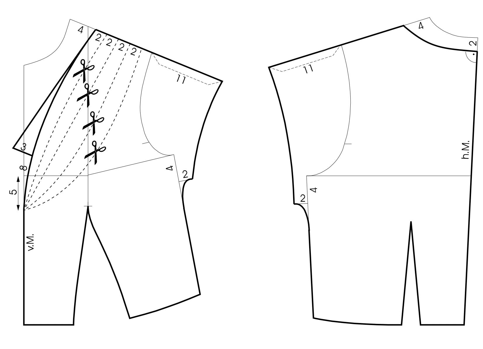 50er Jahre Ausschnittlösung - Schnitttechnik - Sternförmige Fältchenlegung - Vorder- und Rückenteil
