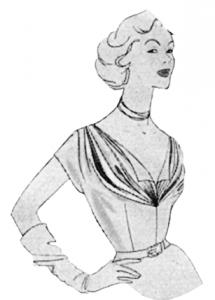 50er Jahre Ausschnittlösung - Sternförmige Fältchenlegung - Modeillustration
