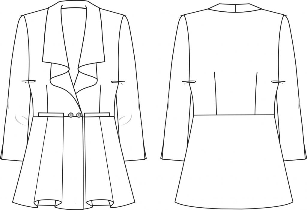 Diese technische Zeichnung zeigt die Vorder- und Rückansicht eines Blazers mit Schößchen für Damen. Sie dient als Vorlage für den Schnitt auf dem Schnittmusterbogen.