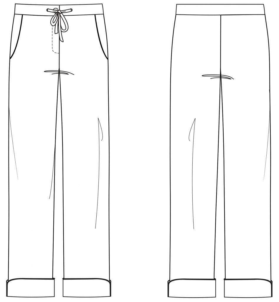 Diese technische Zeichnung zeigt die Vorder- und Rückansicht von einer langen Pyjama Hose für Damen. Sie dient als Vorlage für den Schnitt auf dem Schnittmusterbogen.