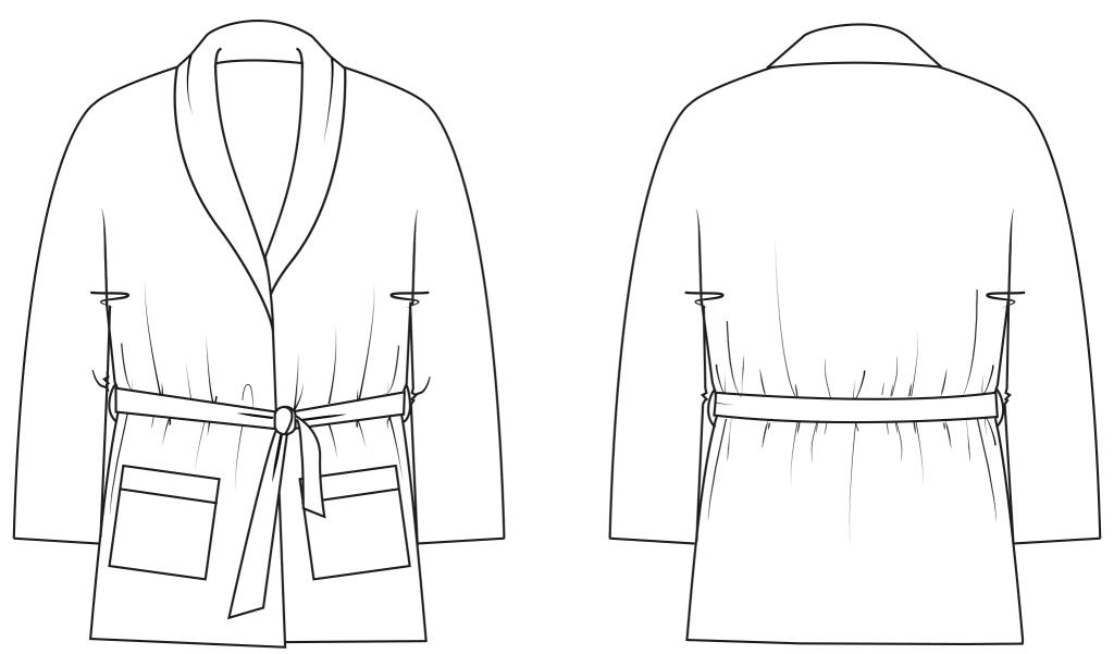 Diese technische Zeichnung zeigt die Vorder- und Rückansicht von einem Pyjama Wickel-Oberteil für Damen. Sie dient als Vorlage für den Schnitt auf dem Schnittmusterbogen.