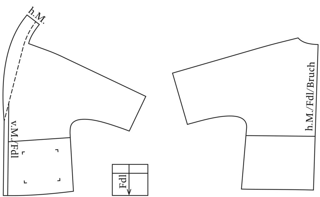 Die Abbildung zeigt die fertigen Schnittteile von einem Pyjama Oberteil mit Wickel. Der Schnitt ist auf dem Schnittmusterbogen
