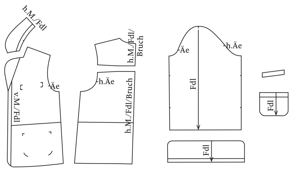 Die Abbildung zeigt die fertigen Schnittteile von einem Pyjama Oberteil mit Revers. Der Schnitt ist auf dem Schnittmusterbogen