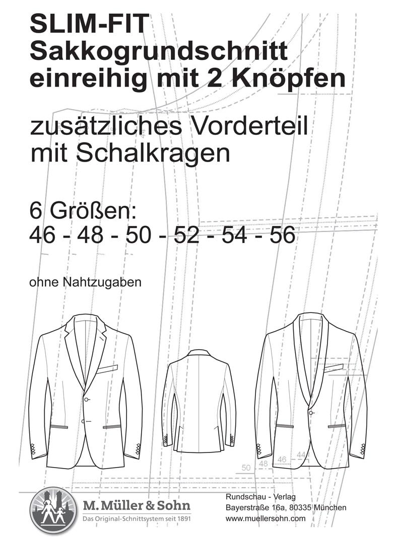 Produkt: Schnittmuster SLIM-FIT Sakkogrundschnitt einreihig
