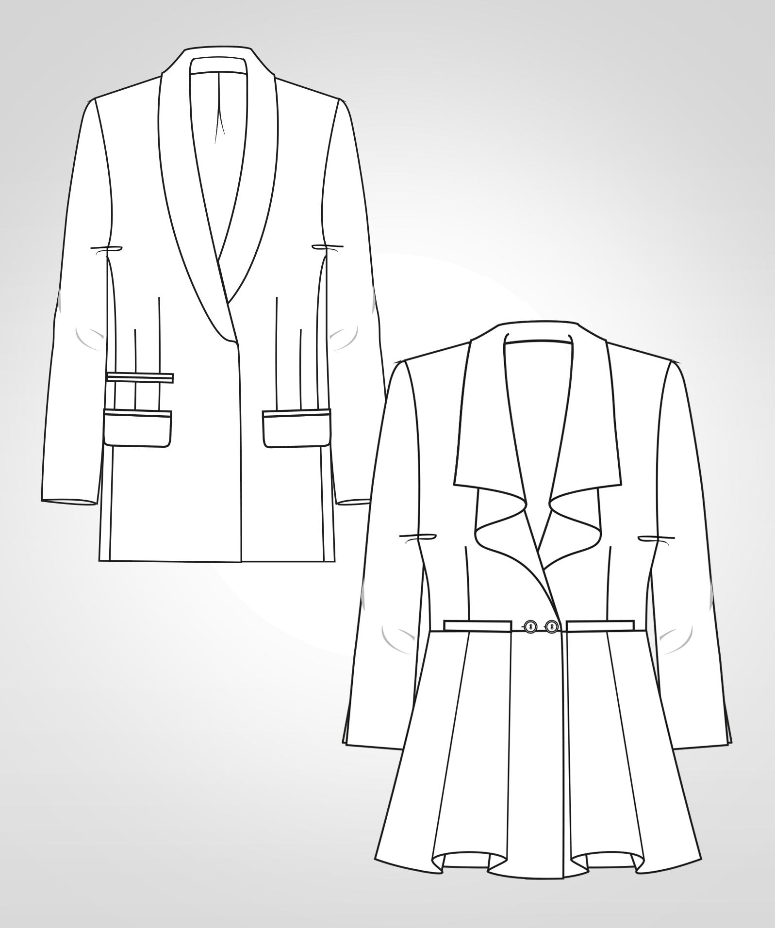 Diese technische Zeichnung zeigt die Vorder- und Rückansicht eines Blazers mit Schalkragen für Damen. Sie dient als Vorlage für den Schnitt auf dem Schnittmusterbogen.