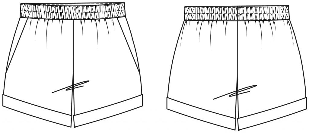 Diese technische Zeichnung zeigt die Vorder- und Rückansicht von einem Pyjama Oberteil mit Revers für Damen. Sie dient als Vorlage für den Schnitt auf dem Schnittmusterbogen.
