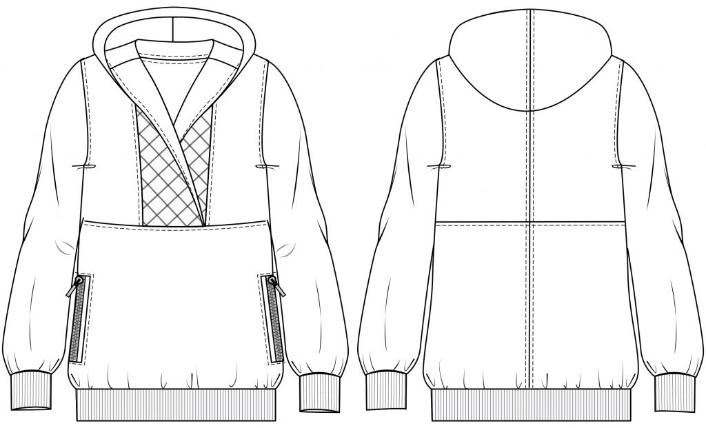 Diese technische Zeichnung zeigt die Vorder-und Rückansicht eines Hoodies mit Kapuze für Damen. Dieses Modell gibt es als Schnittmuster.