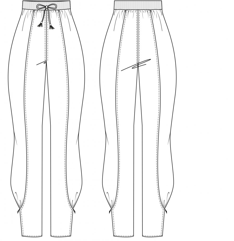 Diese technische Zeichnung zeigt die Vorder-und Rückansicht einer Leggings mit Einsätzen für Damen. Dieses Modell gibt es als Schnittmuster.