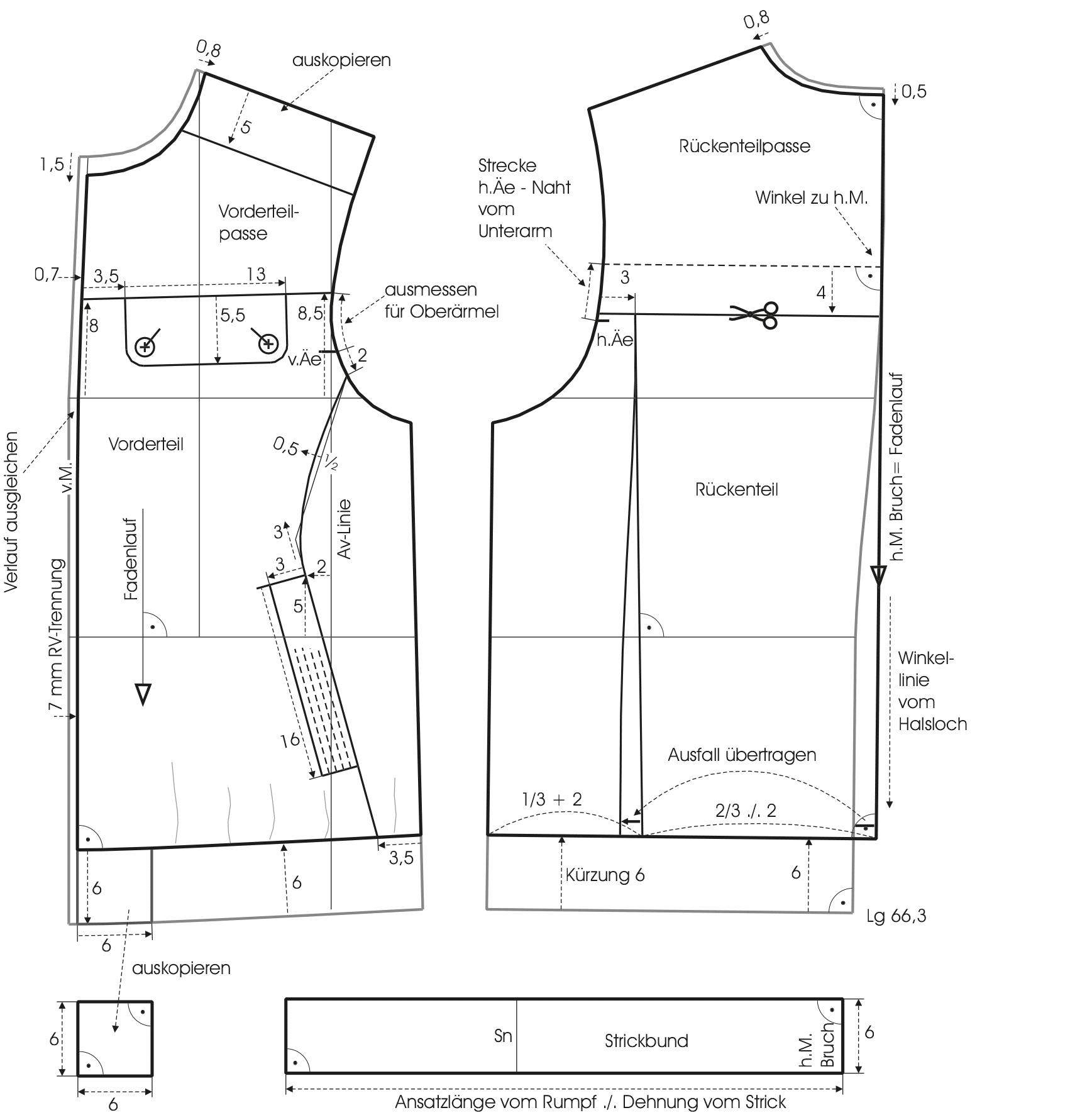 Schnittkonstruktion Ärmelschnitt von der Bomberjacke mit Stehkragen