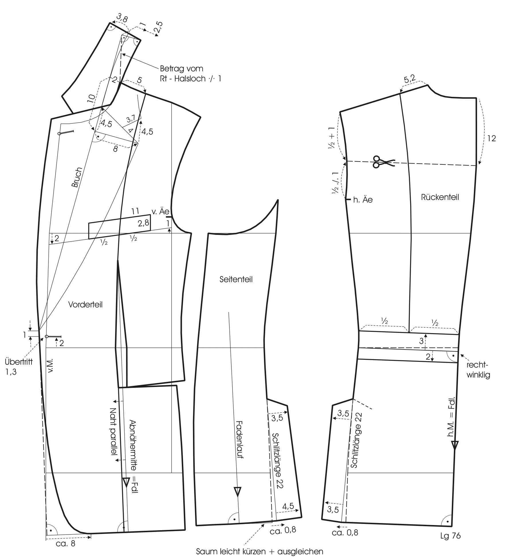 1-Knopf Patchwork-Sakko Modellschnitt und Kragenkonstruktion