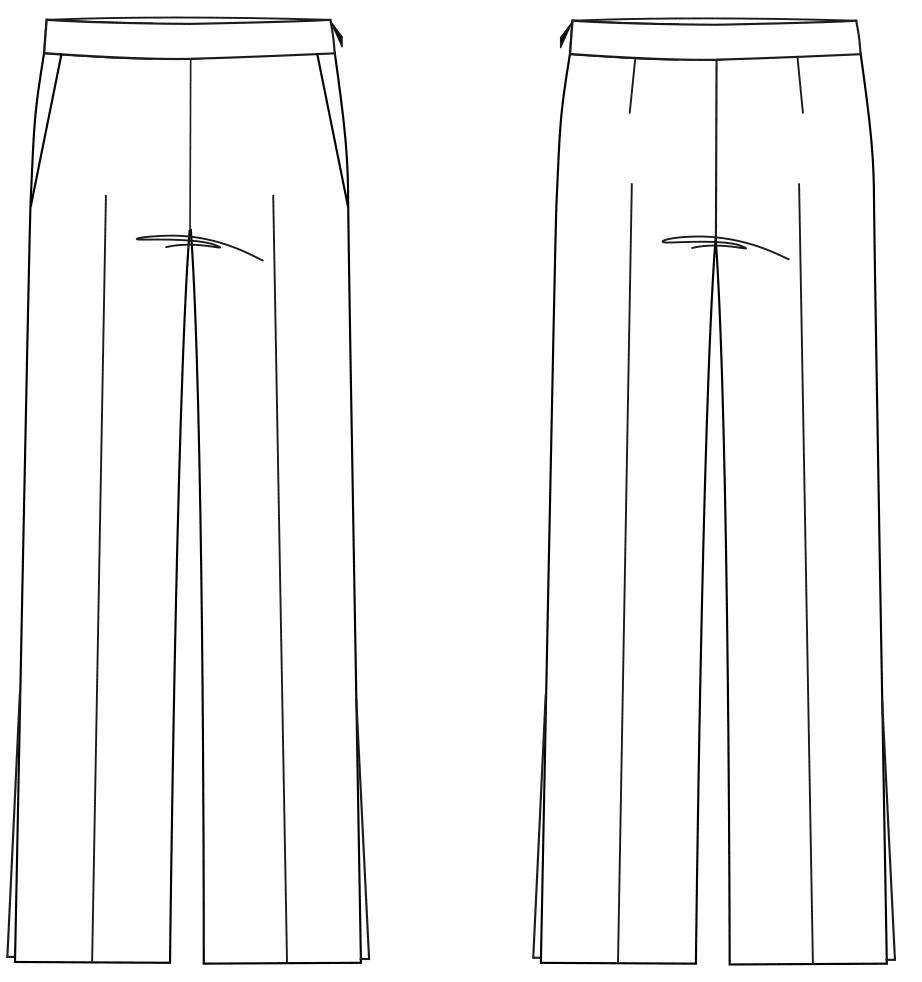 Das Foto zeigt die Vorder- und Rückansicht einer technischen Zeichnung von einer 7/8 Hose. Sie ist die Vorlage für die Schnittkonstruktion von M. Müller & Sohn.