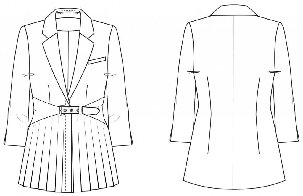 Das Foto zeigt die Vorder- und Rückansicht einer technischen Zeichnung von einem Blazer mit Falten Partie im Vorderteil und Reverskragen. Sie ist die Vorlage für die Schnittkonstruktion von M. Müller & Sohn.