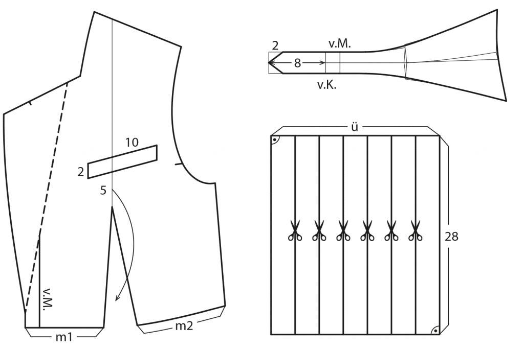 Die Abbildung zeigt die Schnitt-Technik von einem Blazer für Damen.